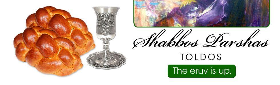 Shabbos Schedule Toldos 5779
