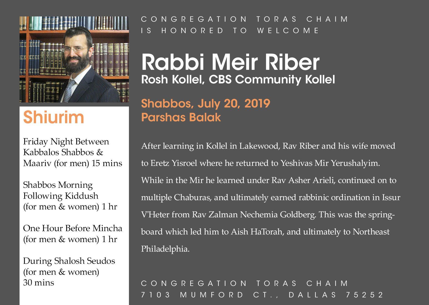 Shabbaton with Rav Meir Riber