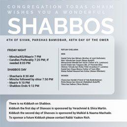 Shabbos Shuva, Parshas Vayeilech Schedule 5782
