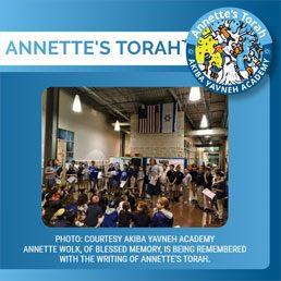 Annette's Torah: New Torah Honors Legacy of Special Teacher